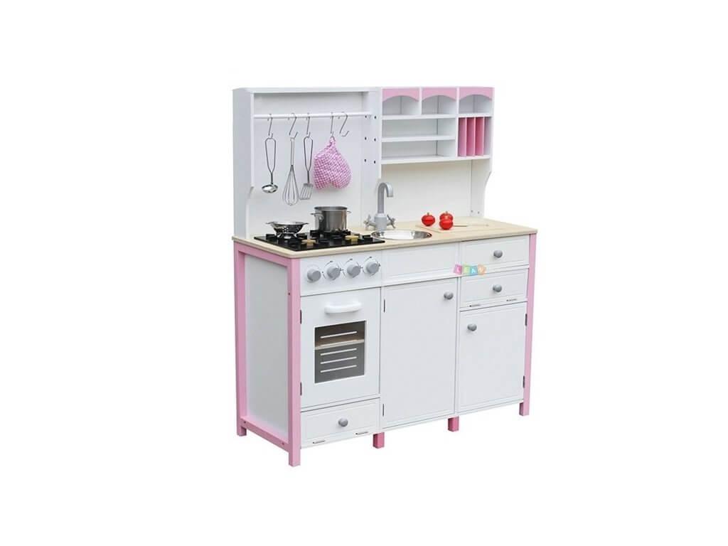 Dětská dřevěná kuchyně s troubou a příslušenstvím růžová