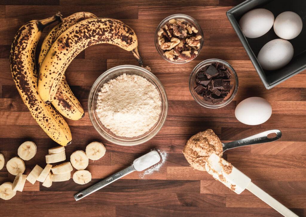 Suroviny na banánový chleba